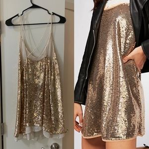 FREE PEOPLE WORN ONCE gold sequin dress
